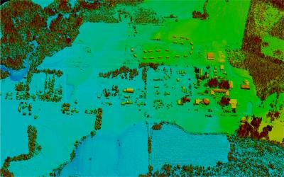 Seneca LiDAR: A discrete return LiDAR surface showing all returns. Note the creek (west), building footprints, and vegetation - these data will be used for flood response management