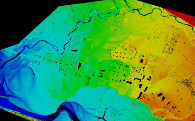 Seneca LiDAR: A discrete return LiDAR surface showing ground-only returns. Note the removed building footprints and flood plain topography - these data will be used for flood response management