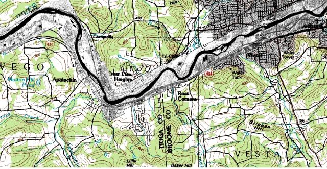 Flood Map: Orthorectified imagery of a flood area captured by WASP displayed on top of a topographic map.