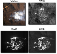 Forest Fire: Images from all four of WASP's cameras taken of a forest fire